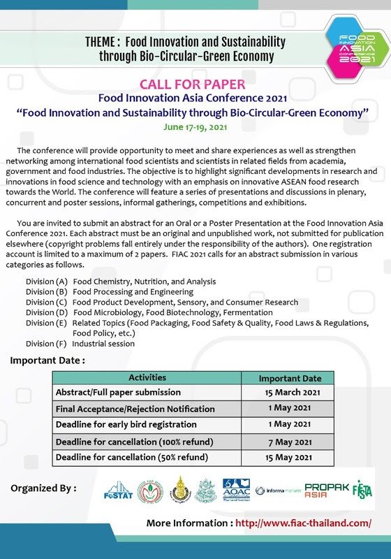 "FOOD INNOVATION ASIA CONFERENCE 2021 ""FOOD INNOVATION AND SUSTAINABILITY THROUGH BIO-CIRCULAR-GREEN ECONOMY"" JUNE 17-19, 2021"