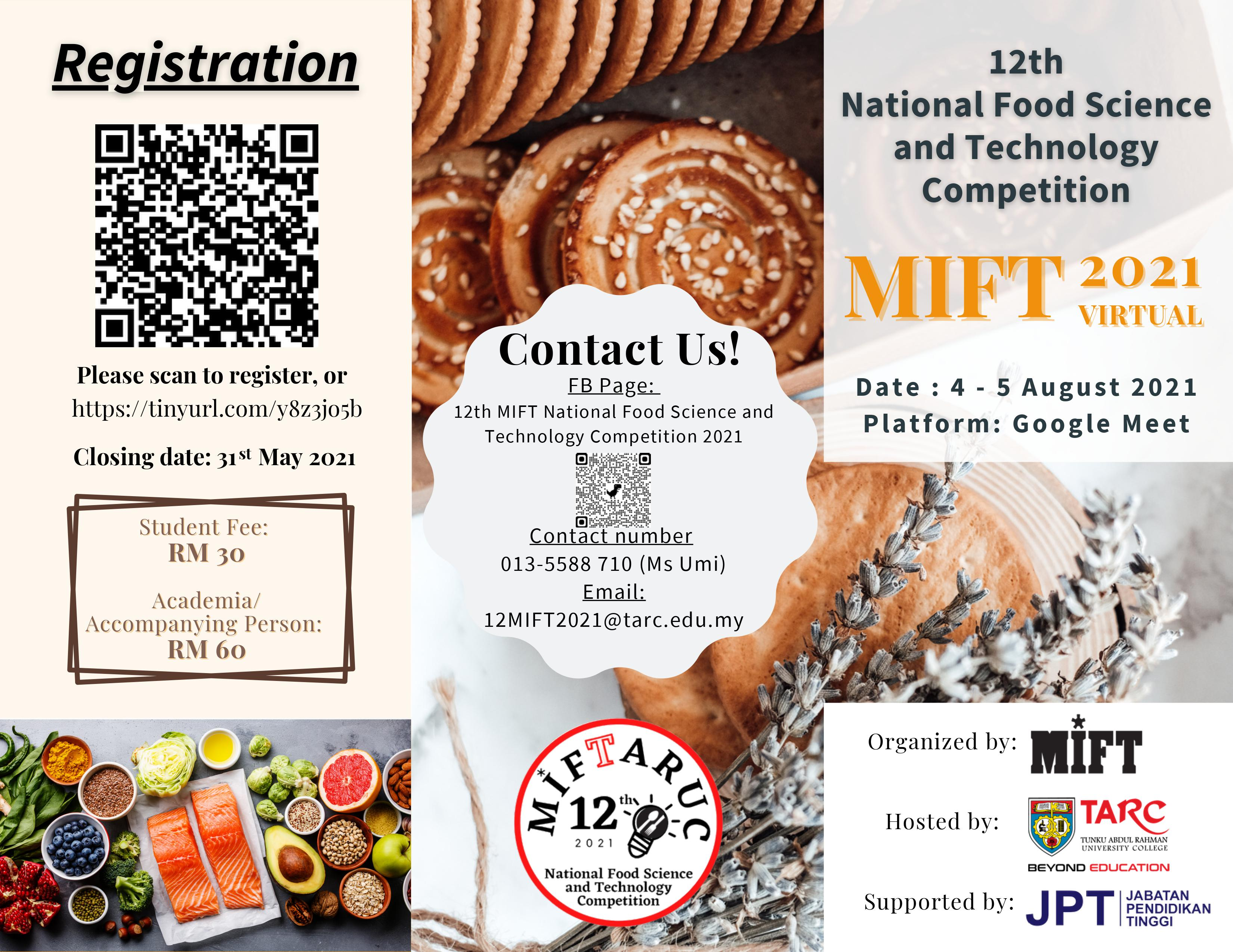 12TH NATIONAL FOOD SCIENCE AND TECHNOLOGY COMPETITION,MIFT 2021 VIRTUAL, 4 - 5 AUGUST 2021