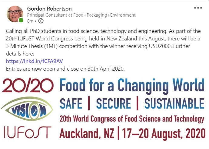 20TH WORLD CONGRESS OF FOOD SCIENCE AND TECHNOLOGY